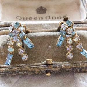 Silver Tone Clips c 1950/'s Vintage AB Aurora Borealis Rainbow Crystal Glass Bead Flower Clip On Earrings