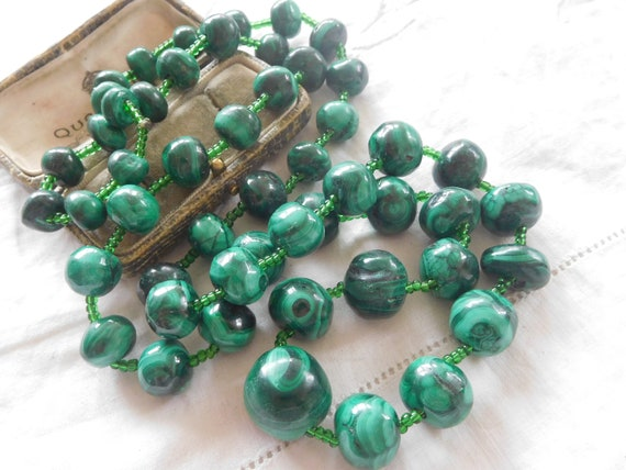 Lovely Heavy LONG Vintage 1980s Genuine Malachite