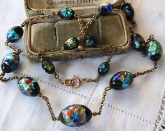Stunning Art Deco Venetian FOIL Glass Bead Necklace on rolled gold chain setting