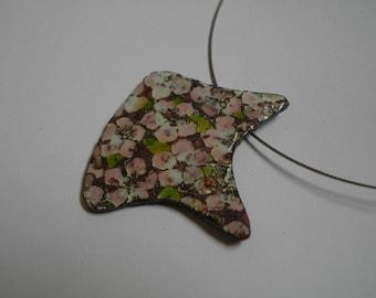 """Cherry blossom"" pendant necklace asymmetrical cherry enamels on copper flower pattern"