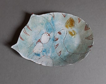 """Blue """"cat and butterfly"""" soap dish - house accessory and ornament  enameled copper - handmade by Les z'émaux"""