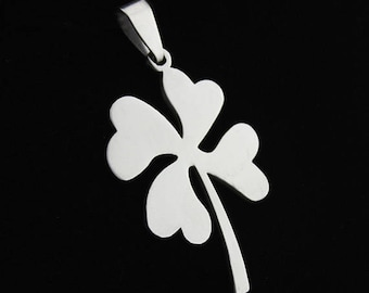 2pcs 25x37mm Stainless Steel Four Leaf Clover Charm, Four Leaf Clover Pendant, Silver Charm,