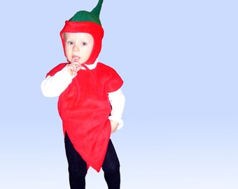 Children's Costume CHILI Paprika Costume for Carnival and Carnival Fruit and Vegetables Carnival Costumes for Children
