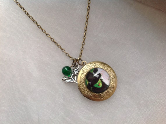 Vintage Bronze Tone Locket Picture Pendant Necklace Wicked The Musical Defying Gravity Included Free Brass Chain Gifts Personalized