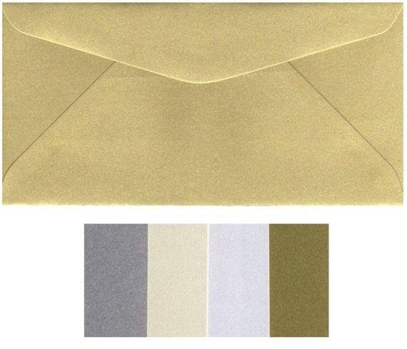 220mm x 110mm White Silver Ivory DL Pearlised Envelopes Gold