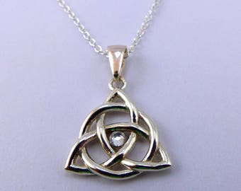 Triquetra Necklace with Crystal