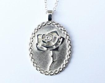 Celtic Rose Shield Necklace
