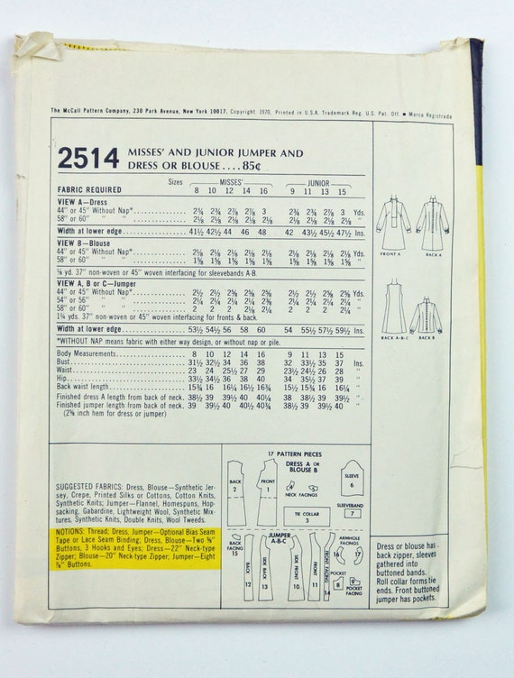 años 70 vestido Jumper de mujeres patrón patrón solía 2514 | Etsy