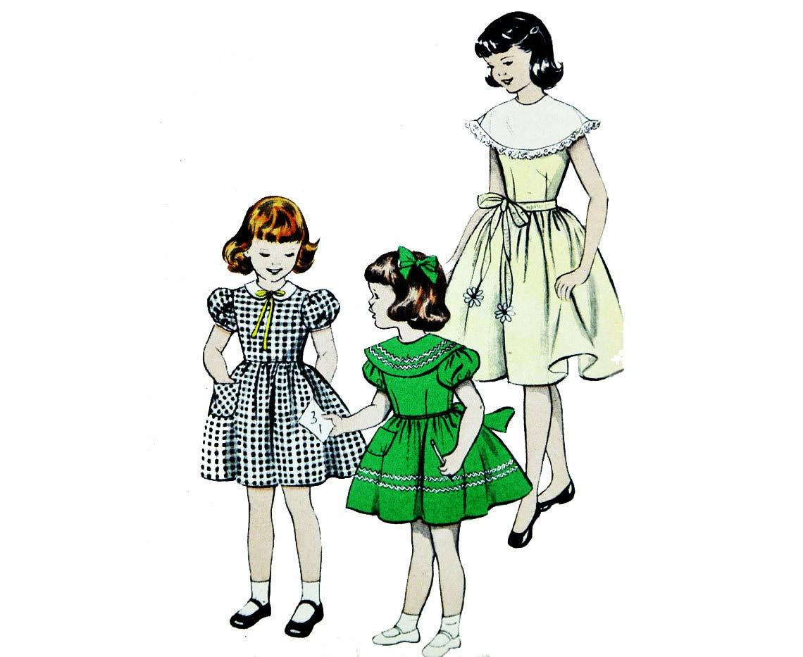 Patrones de costura Vintage Vintage años 50 niñas vestido | Etsy