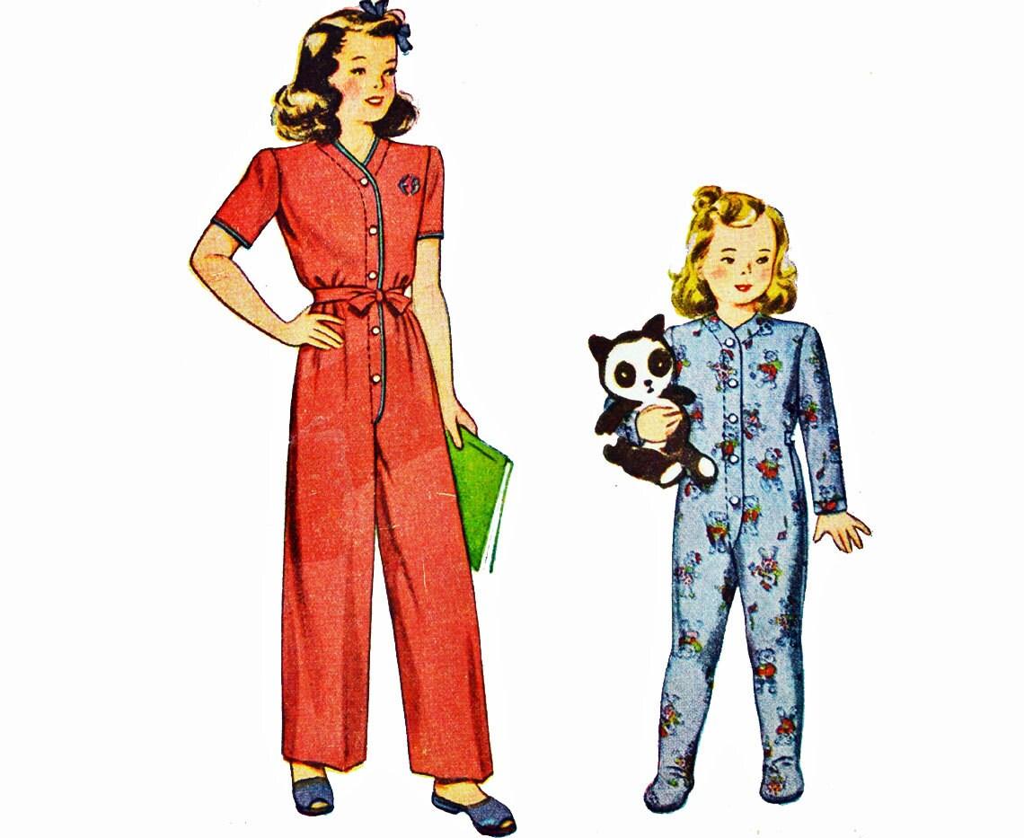 Vintage años 40 coser patrones niños enterizos pijamas patrón | Etsy