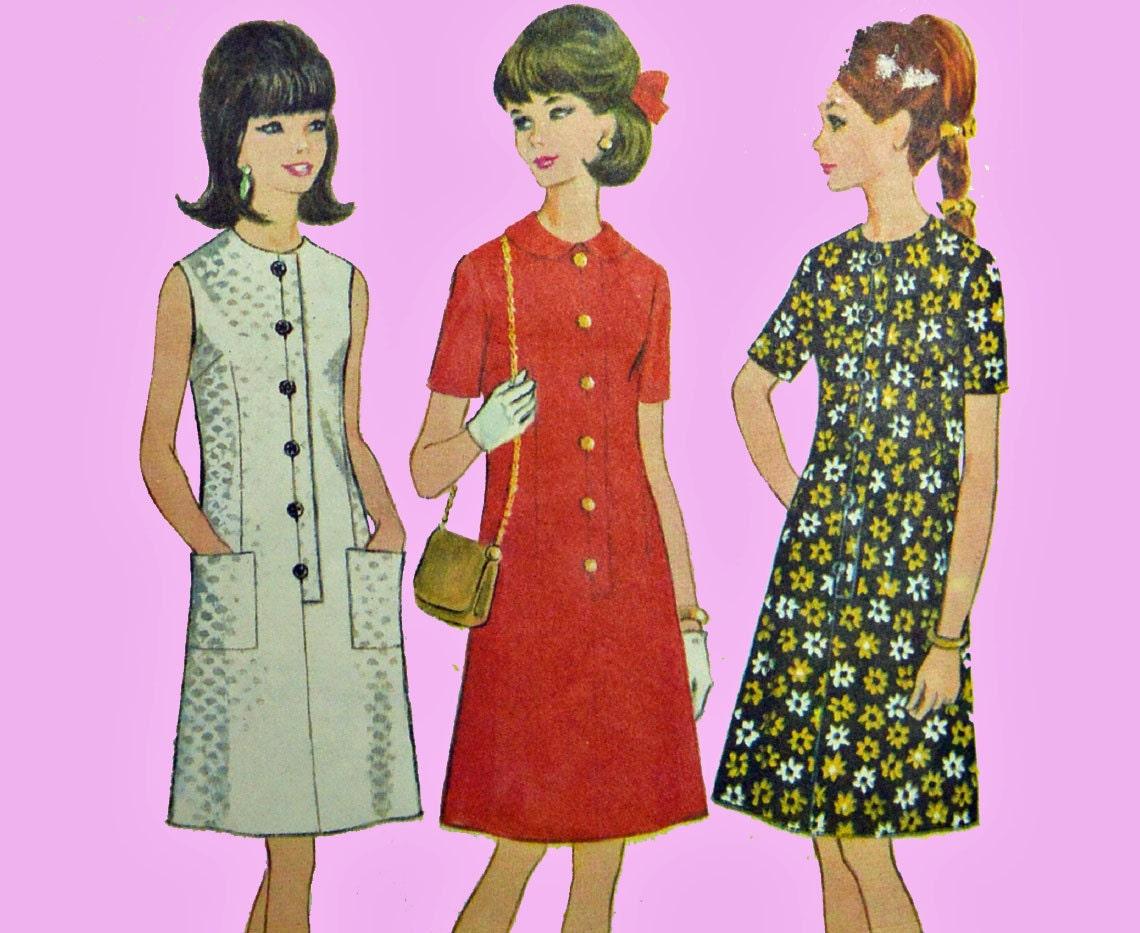 años 60 vestido patrón Vintage costura Mod patrones A línea vestido ...