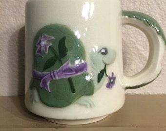 Gorgeous turtle hand painted stoneware mug