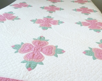 Gorgeous Rose of Sharon Applique Quilt in pink and green!  Beautiful stitching!