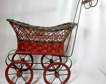 Antiques Vintage Wicker Doll Carriage Buggy Canvas Top Metal Wheels Baby Carriages & Buggies