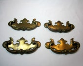 Drawer Pulls Handles Chippendale Brass Vintage Set of 4 DIY Restoration Projects