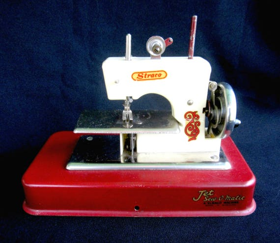 Vintage Toy Sewing Machine Straco Jet SewOMatic Mid Century Etsy Amazing Matic Sewing Machine