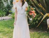 Ivory Silk Crepe Draped Sleeve Wedding Gown - Vintage Inspired Low Back Handmade Gown - Astrid