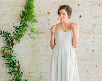 Silk Tulle Wedding Dress, Mint Green Reception Dress, Custom Color Minimal Wedding Gown,  Modern Romantic Wedding Dress - Laure Gown