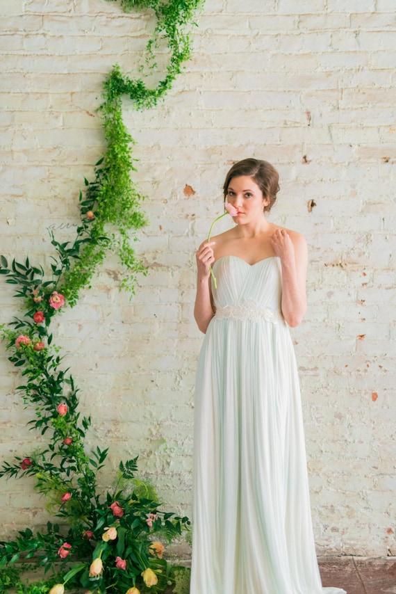 Seide-Tüll Brautkleid Mint grün Empfang Kleid