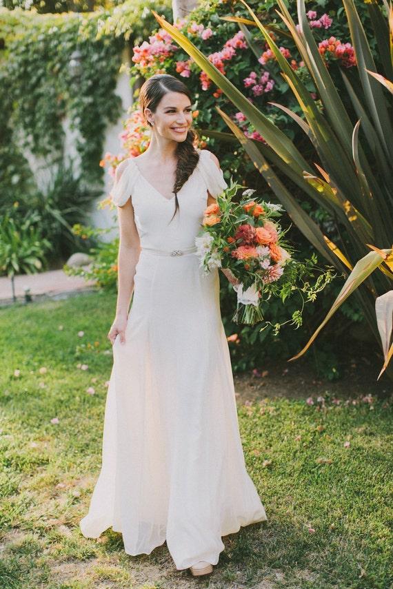Ivory Silk Crepe Draped Sleeve Wedding Gown Vintage Inspired Etsy
