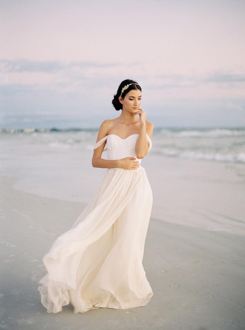 86281d0b Chiffon and Lace Wedding Dress Ivory Silk Chiffon Wedding | Etsy