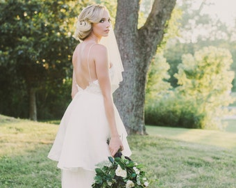 Backless Wedding Dress, Lace and Tulle Wedding Dress, Ivory Silk Wedding Gown, Open Low Back Wedding Dress, Romantic Dress - Margaux Gown