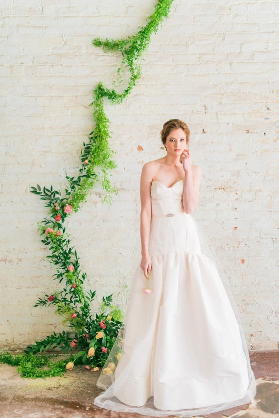 Fit And Flare Wedding Dress Silk Ball Gown Wedding Dress Etsy