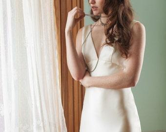 Bias Cut Silk Wedding Dress, 1930 Retro Inspired Wedding Gown, Art Deco Minimal Wedding Dress, Open Back Ivory Wedding Dress  - Heavens Gown