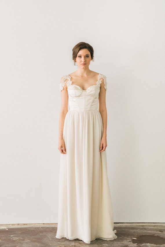 Ivory Silk Chiffon Wedding Dress Beaded Lace Cap Sleeve Etsy