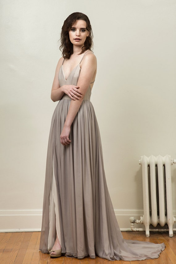 Gray And Ivory Silk Chiffon Wedding Gown Leigh Etsy