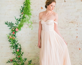 Off The Shoulder Wedding Dress, Blush Pink Wedding Dress, Silk Tulle Wedding Gown, Romantic Wedding Dress - Juliette Gown