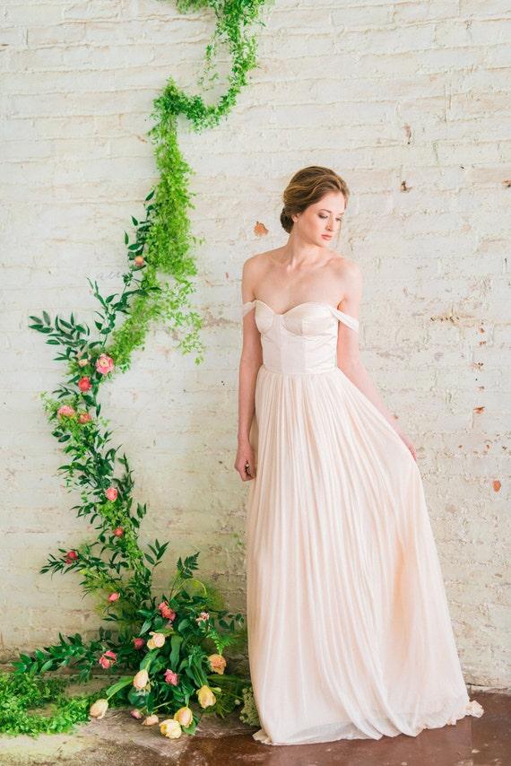 Off The Shoulder Wedding Dress Blush Pink Wedding Dress Silk Etsy