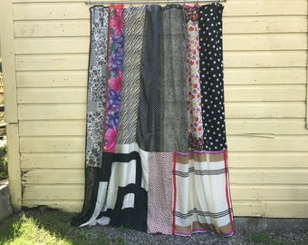 PIN UP Black And White Patterns Upcycled Repurposed Silk Scarves Shower Curtain Panel
