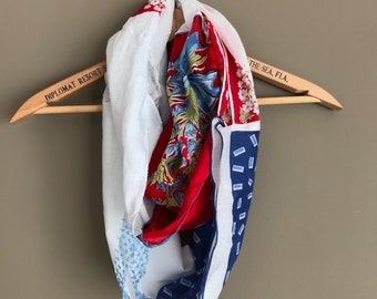 Classic red, white, and blue handerchief infinity scarf, lightweight and perfect for spring picnics