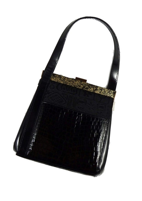 Inge Christopher Black Evening Bag • 1980s Evening