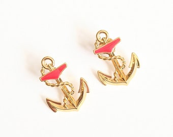 Vintage 90s Avon Drop Anchor earrings nautical 1992 red white enamel military Navy rope gold tone pinup rockabilly 50s style sailor girl