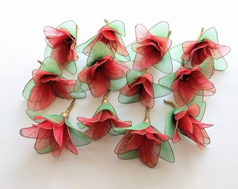 Christmas flowers etsy vintage nylon poinsettias lot wire christmas flowers for wreaths floral arrangements crafts mightylinksfo