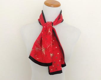 Vintage red silk scarf long black tan floral Asian 8 momme double sided
