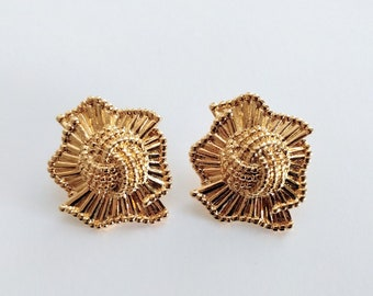 4bcd94eec Vintage 90s Avon earrings gold tone large chunky oversized Fashion Fan 1991  ribbed pleated knot posts