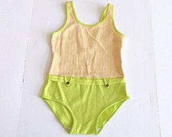 NWT Girls ROXY Teenie Wahine Swimsuit Pink Yellow 2T Bathing Suit Swim Hawaiian