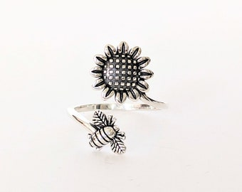 Size 8 Bumble Bee Sunflower Sterling Silver Ring Size New Vintage Wholesale Honey