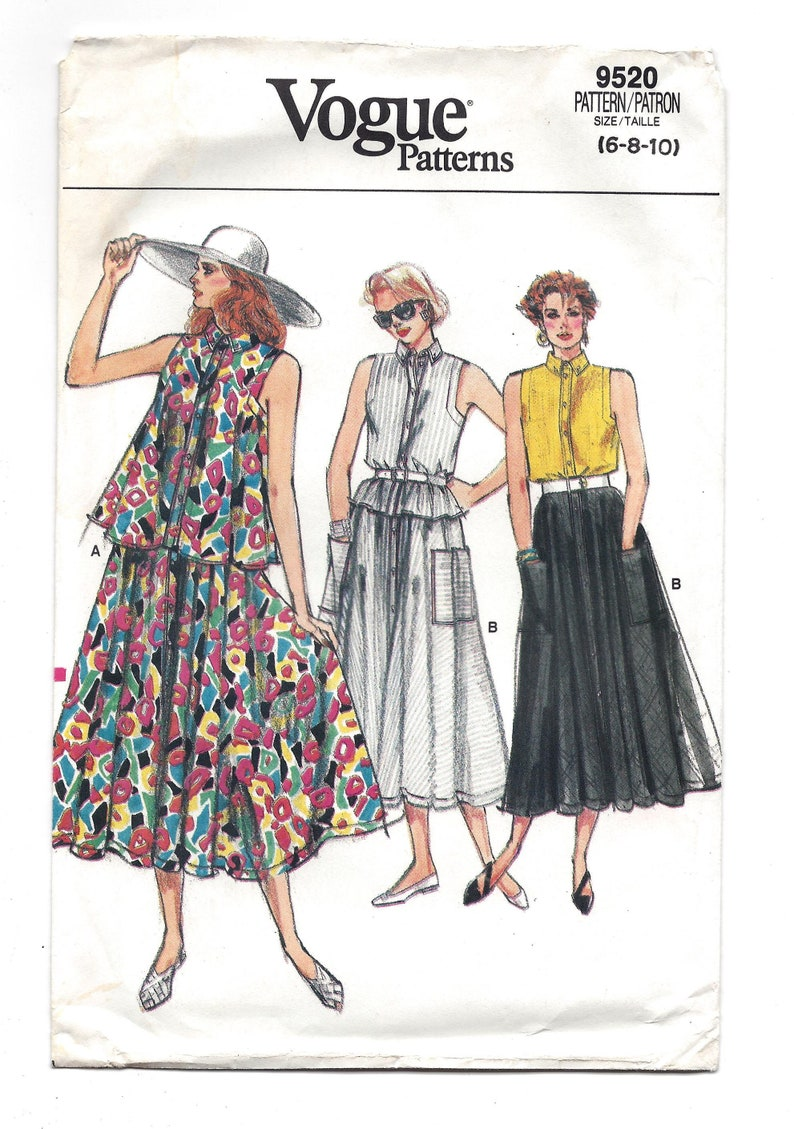 Multi Size 6-8-10 UNCUT FF Pattern 1980s Vogue 9520 Loose Fitting Flared Top Sleeveless and Flared Mid Calf Skirt