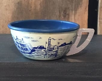Vintage Ohio Art Toy Tin Teacup, Early American Colonial Blue and White 1950s
