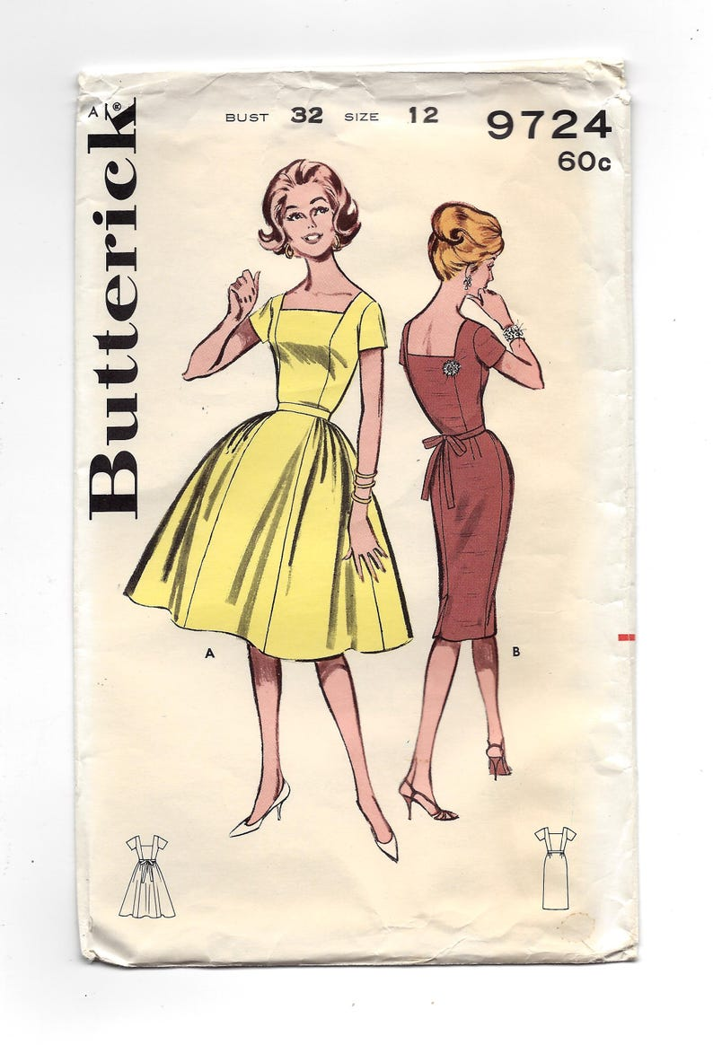 5aed0d6b87ee0 1960s Butterick 9724 Misses Square Necked Dress 2 Skirt | Etsy