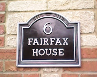 Vintage style Large Classic house name plate. Cold cast Pewter & Black. Have up to 16 letters and motif of your choice.