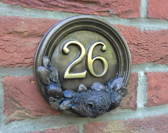 BabyHedgehogs house number plaque in Cold Cast Bronze or pewter. Add any two numbers from 1 to 99. Number 26.
