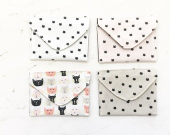 Fabric Envelopes, Gift Card Holders, Cat Lovers, Fabric stationary