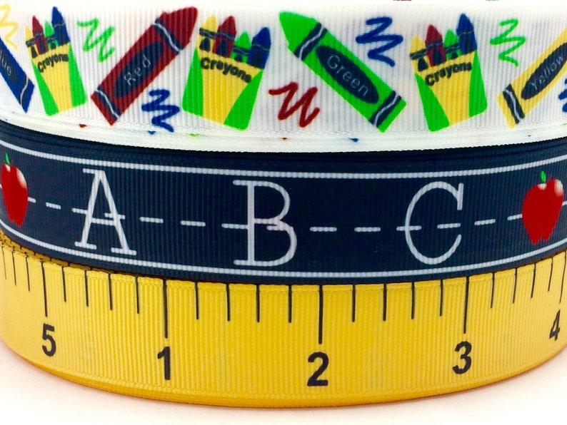 7/8  Back to school  printed Grosgrain ribbon-School image 0