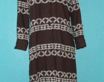 """SALE — was 40 1960s Vintage """"Caron Chicago"""" Brown Embroidered Rayon Dress"""