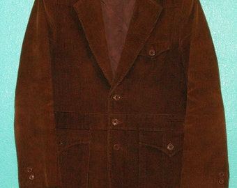 "1970s ""L'Avion"" Guys' Brown Corduroy Western-Cut Lined Jacket — size 40 or Medium"